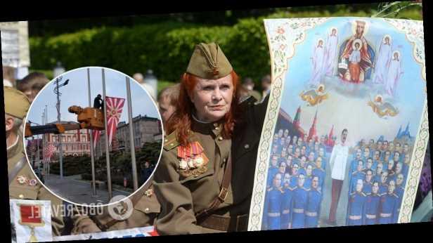 Город в России »украсили» флагами ВМС Японии к 9 мая. Фото
